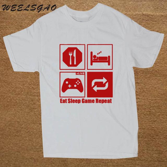 WEELSGAO Funny New Fashion Eat Sleep Game Repeat Mens Gamer Funny T Shirt Custom Pattern cotton man T-shirt casual