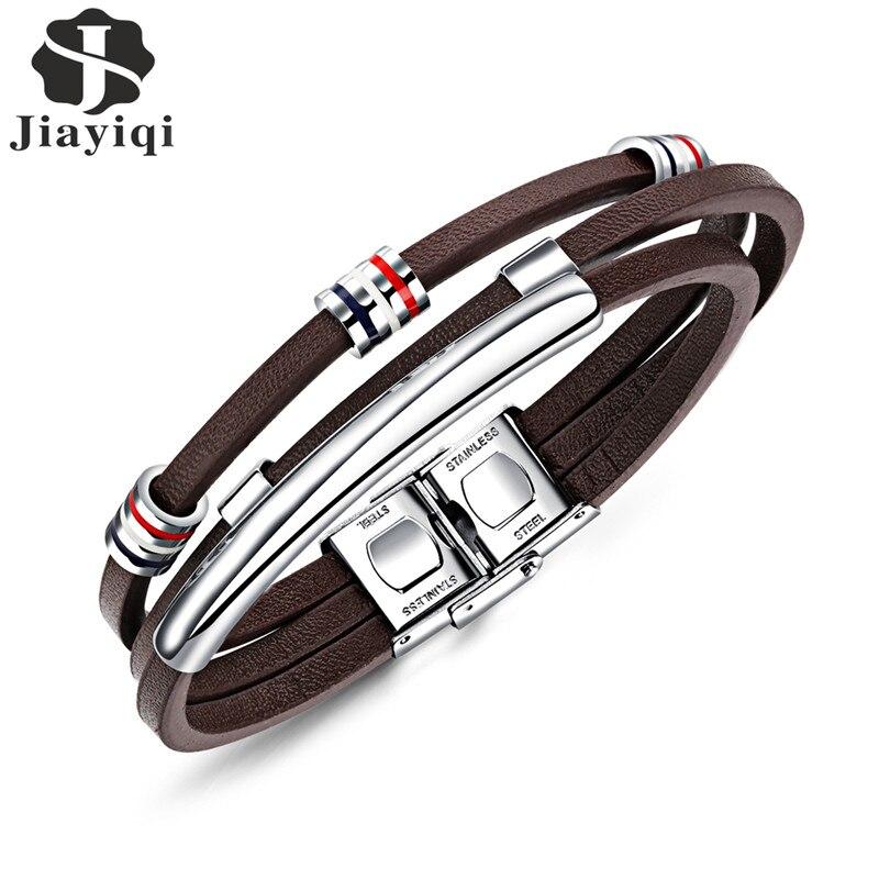 Jiayiqi Neue Mode Braun Leder Armband für Männer Schmuck Edelstahl Silber Perlen Armreifen Vintage Männlichen Zubehör Geschenke
