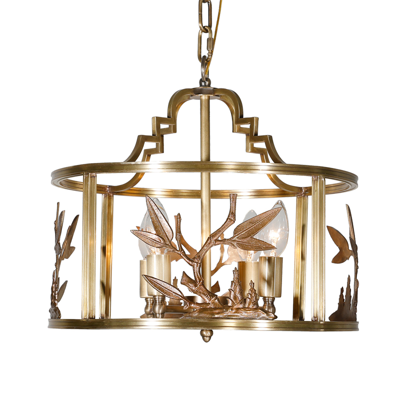 Pure copper chandelier restaurant retro lighting Duplex dining light simple American staircase personality villa