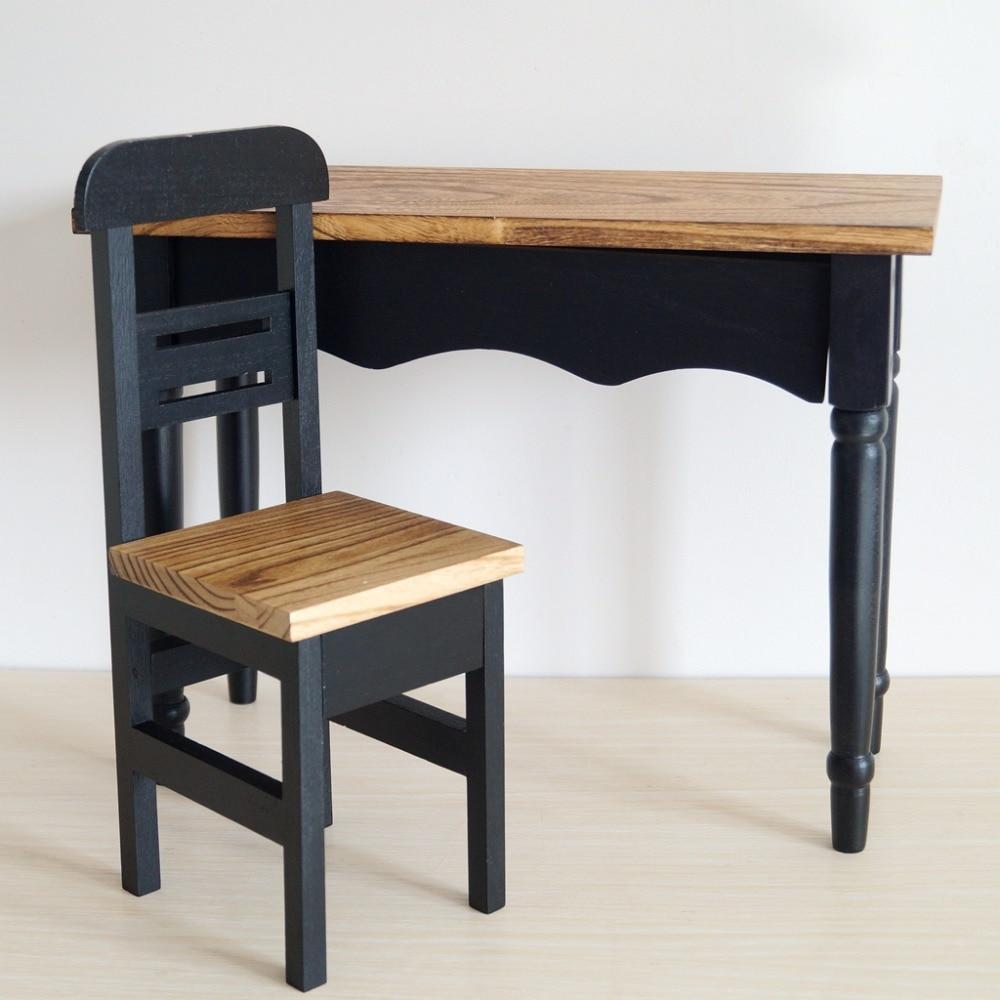 BJD Mini Furniture Wood CLass Chair Desk For 1 3 24 60cm 1 4 17 Tall