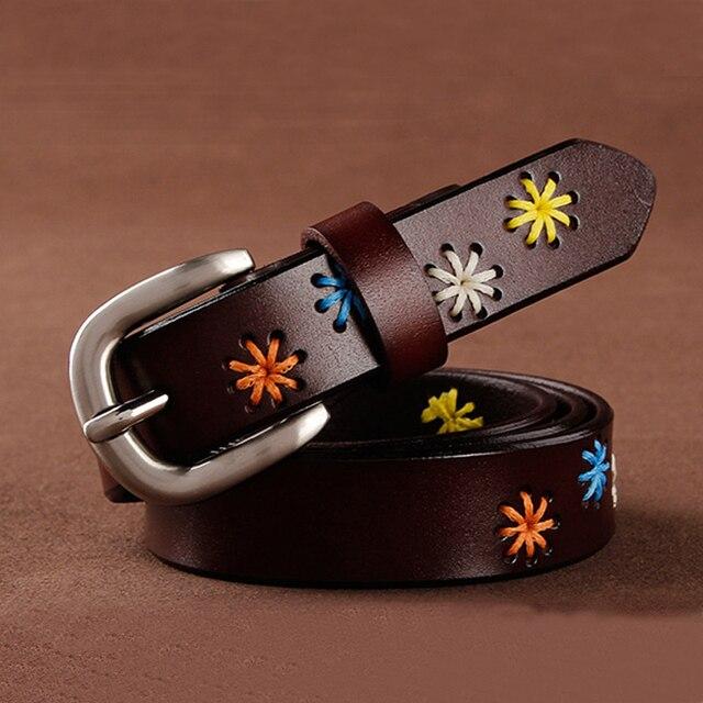 [HIMUNU]Fashion Brand Genuine Leather Belts for Women Vintage Floral Design Cowskin Belt Woman Top Quality Women belt 4 Color 3