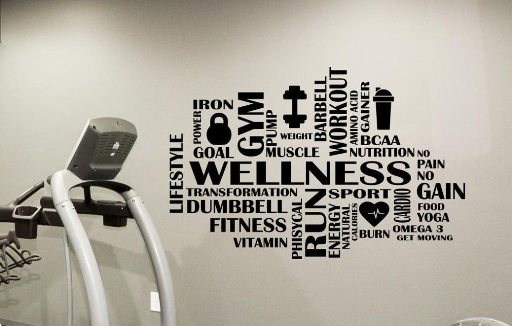 Fitness motivation Gym Sticker Mural Sport bien-être vinyle autocollant Art Mural