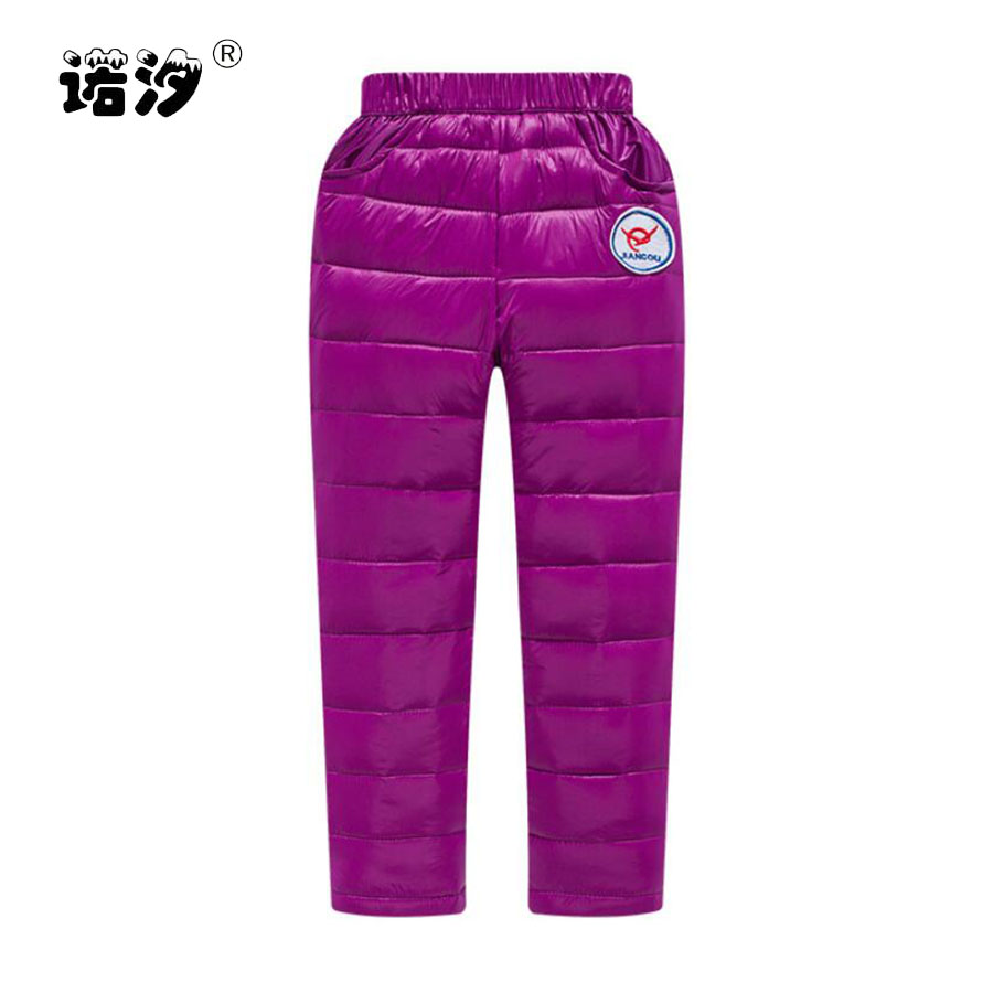 все цены на Girls pants boys white duck down pants girls long style thicken warm winter trousers baby pants 2 to 11 Y children outwear pants