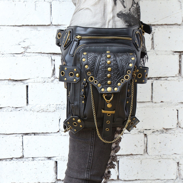 Steampunk Thigh Holster Protected Purse Shoulder Backpack Purse leather women bag carteras mujer bag thigh Motor leg Outlaw Pack