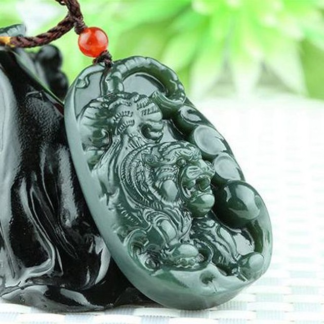 Hetian jade hand carved stone zodiac tiger pendant necklace hetian jade hand carved stone zodiac tiger pendant necklace pendant jewelry for men and women mozeypictures Images
