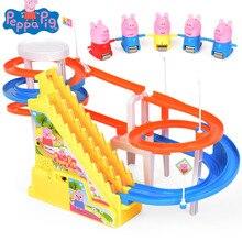 Peppa pig Action Toy Цифры Детский Вагон Электрический музыка восхождение лестницы трек Pecs детские игрушки интеллектуал класс