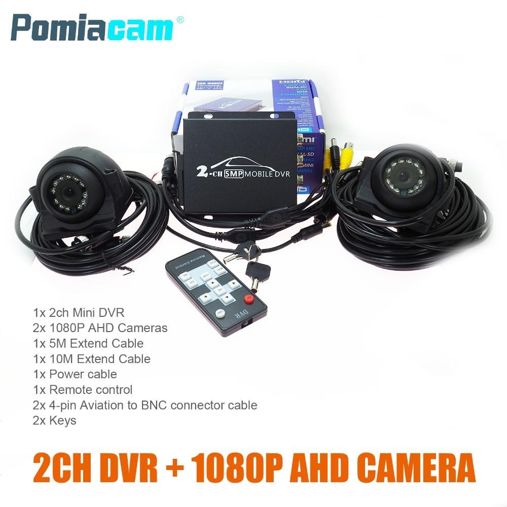 T760 2CH Mobile DVR with 2PCS 1080P AHD camera Video Surveillance System Car video recorder Kits mini vehicle DVR