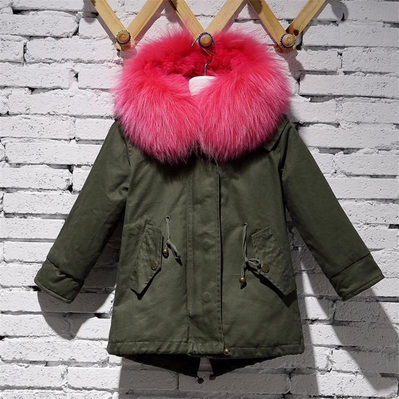 2017 Children Army Green Coat Kids Real Natural Rabbit Fur Clothing Winter Rabbit Long Parkas Hooded Coat Grils Warm Jacket C#22 new army green long raccoon fur collar coat women winter real fox fur liner hooded jacket women bomber parka female ladies fp890