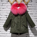 Children Army Coat Kids Real Rabbit Fur Coat Winter Rabbit Fur Long Parkas Hooded Coat Boy Grils Warm Thick Outerwear Coat C#22