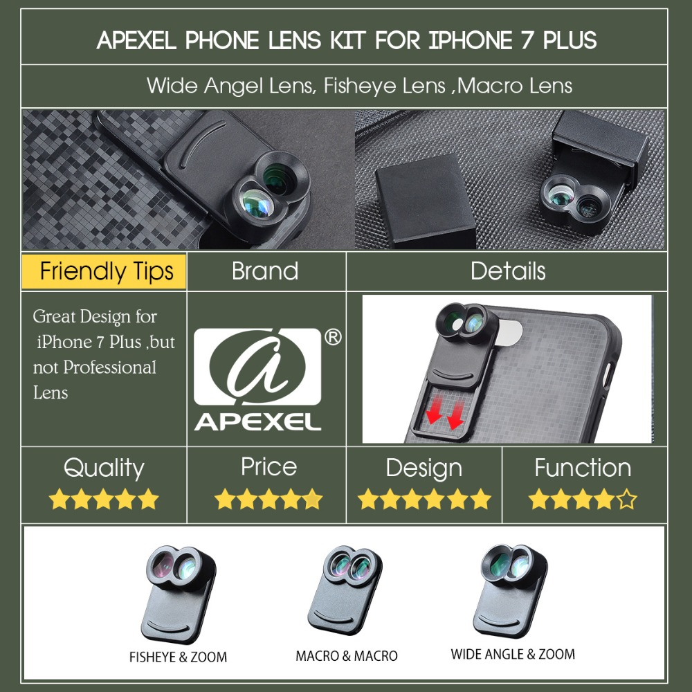 APEXEL 6 in 1 Dual Phone Lens Kit Wide Angle/Zoom/Telescope/Macro/Fisheye Camera Lens with Smartphone Case for iPhone 7 plus 2