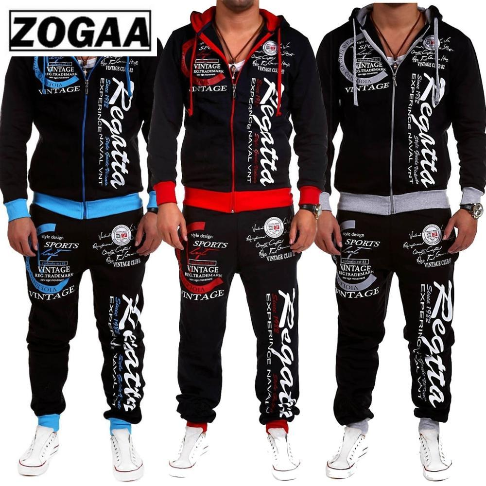ZOGAA New Men's Casual Tracksuit Two Piece Set Sportswear Elastic Waist Pants Letter Printed Hooded Unique Sports Set Sweat Suit