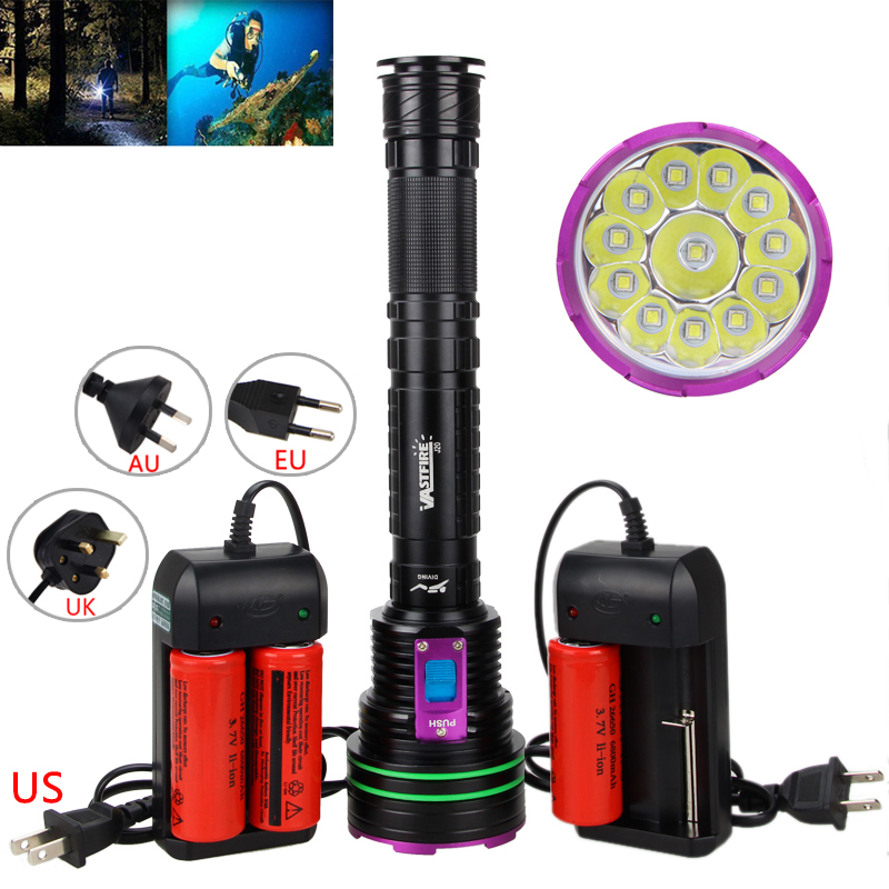 Underwater 100m 30000LM Diving Light 12*XML L2 LED Diving Scuba Flashlight Torch+3x26650 Battery+Charger rechargeable 3x xml t6 led 6000lm scuba diving flashlight torch light 2x3000mah battery dual charger