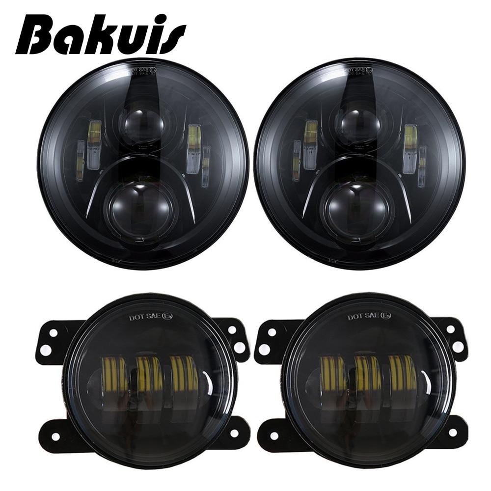 DOT 120W 7 Inch LED Headlights 4 Inch Fog Lights Bulbs Set For Jeep Wrangler JK LJ JKU TJ CJ Sahara Rubicon Freedom