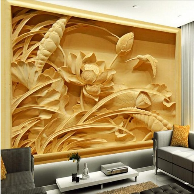 Beibehang Custom Large   Scale Murals High   Definition Wood Carving Lotus  Chinese Fresco TV Backdrop