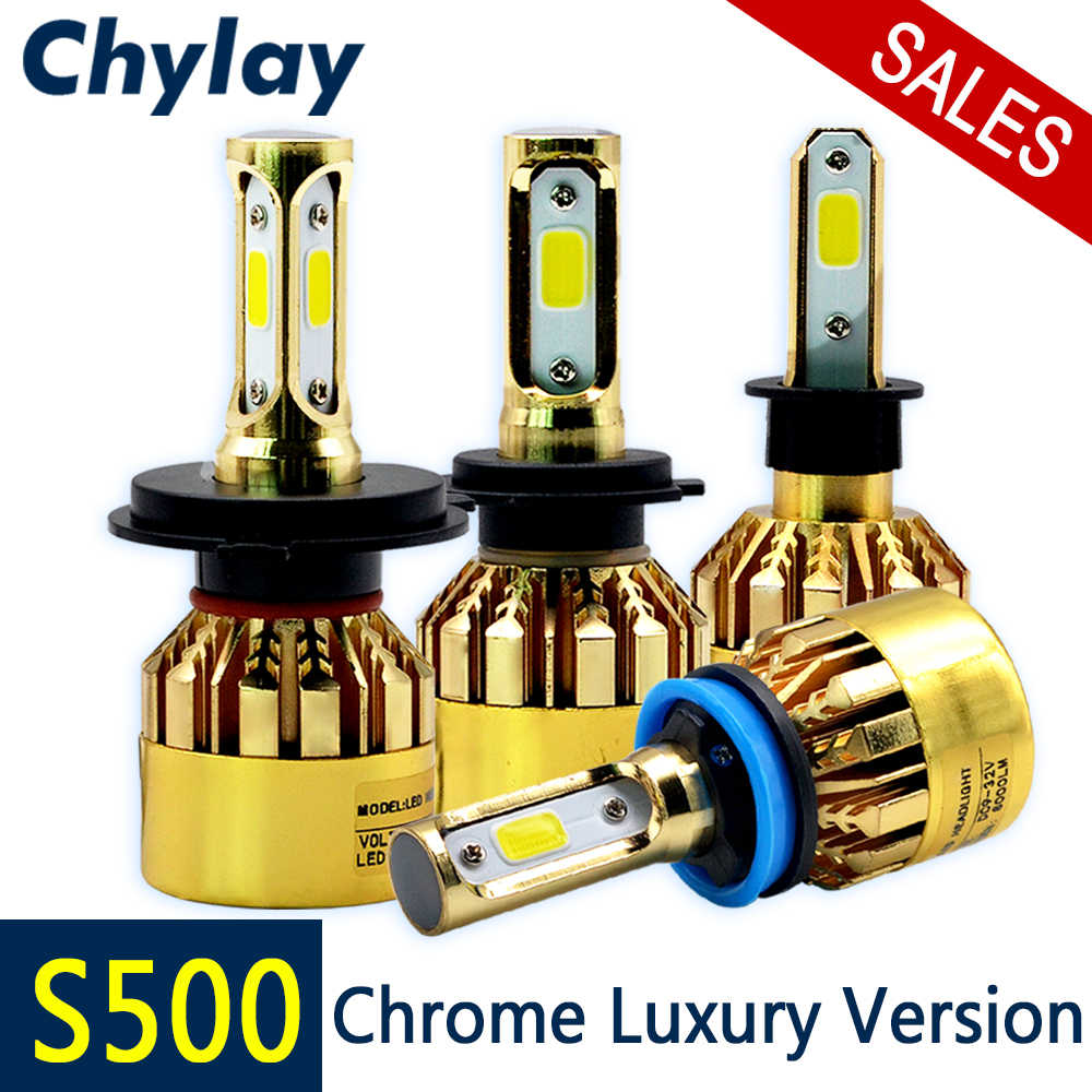 LED H7 H11 H4 H1 Car Headlight Bulbs S500 Series Golden Chrome Luxury Version H3 H8 HB3 HB4 881 Fog Light 72W 8000LM 6500k