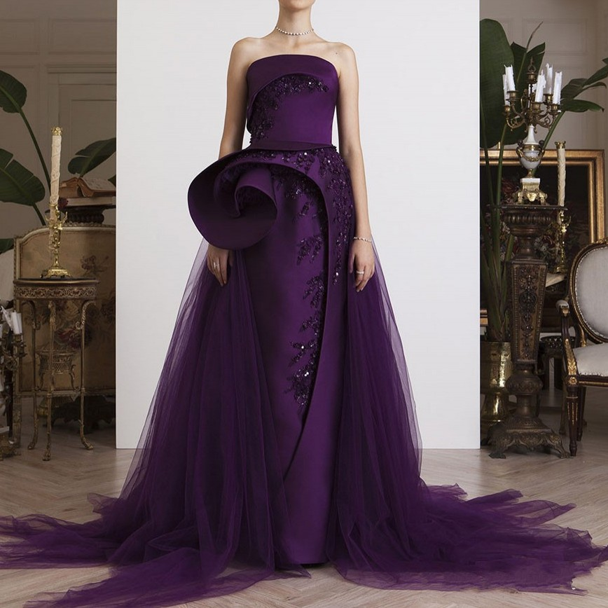 Formal Gowns Purple Evening Dresses Elegant vestido de festa longo Off Shoulder Appliques Evening Dress Long