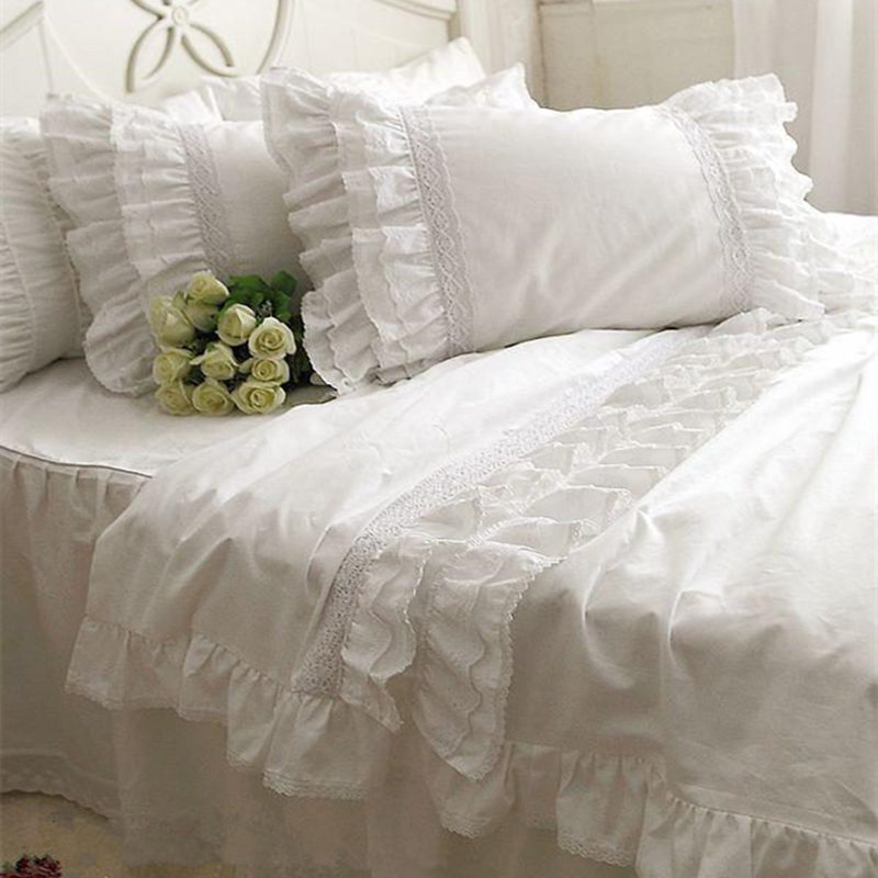 Top luxury Korean bedding set elegant embroidery lace duvet cover ruffle craft cake layers bedding bedspread