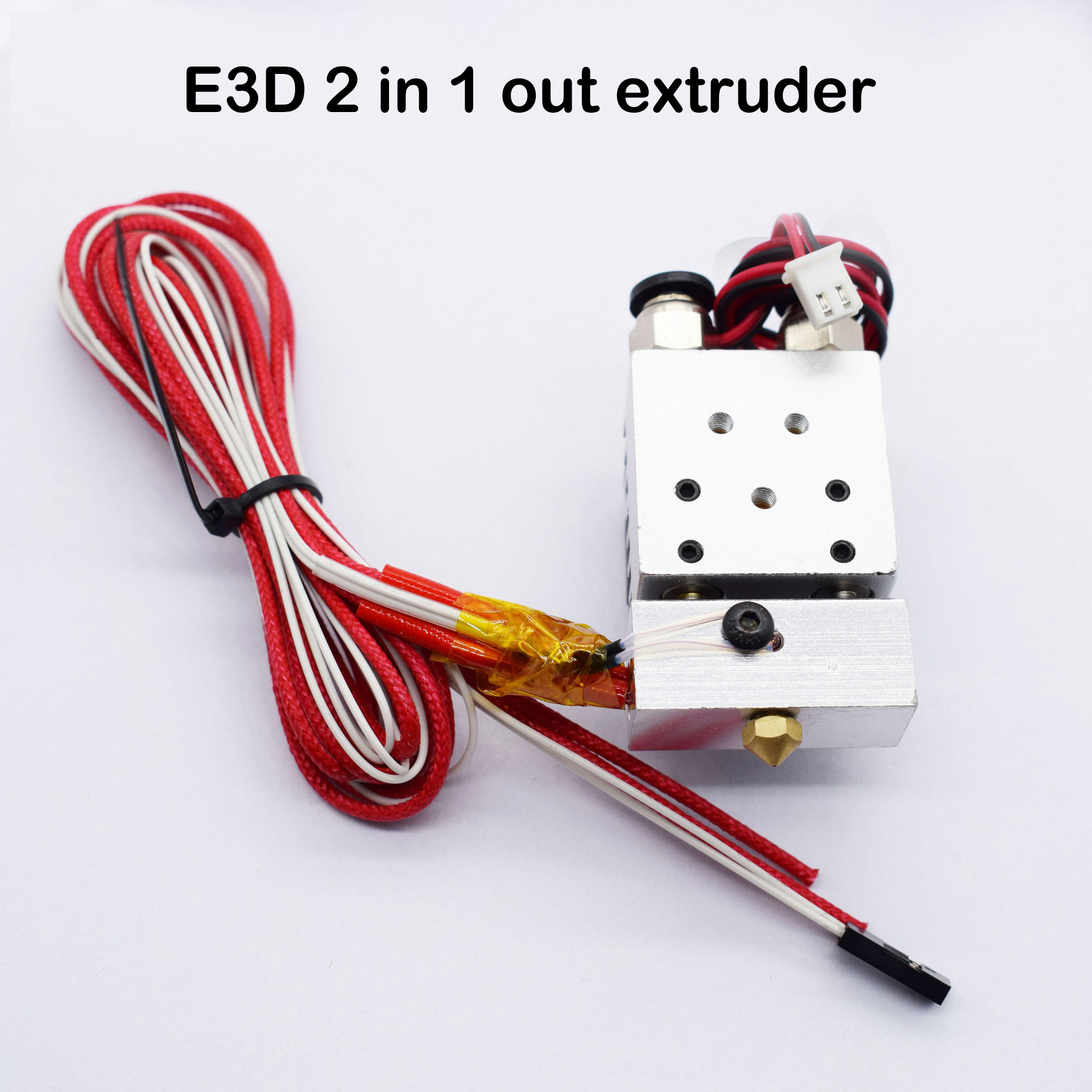 2 in 1 out extruder remote 0.4 nozzles 1.75mm 12V/24V single head double color printing for 3D printer e3d extruder parts biqu new 3d printer part 2 in 1 out extruder with single cooling fan for dual color cyclops 12v 24v heater for selection