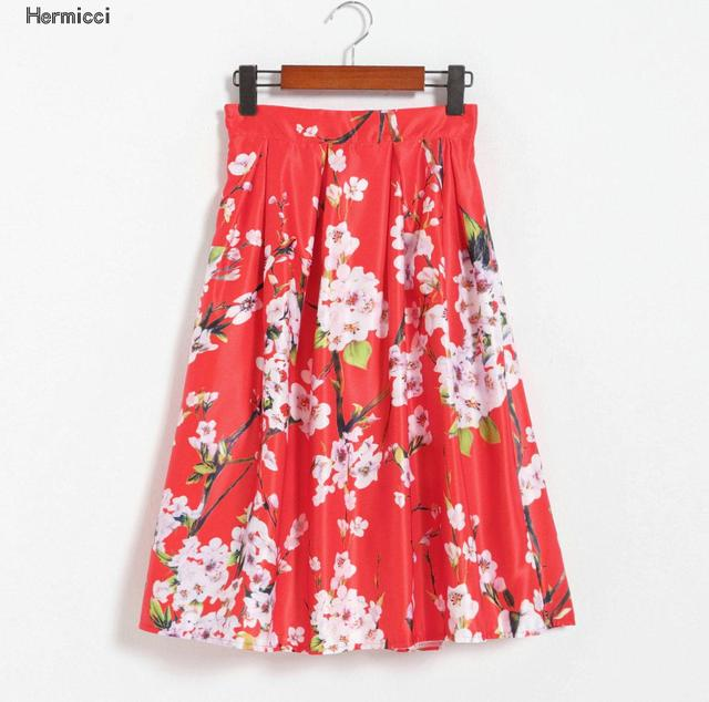 Hermicci Pleated Skirt 2017 Autumn Vintage Elegant Floral Print Ball Gown  Skirt Women Midi High Elastic Zip Waist Pink Skirt 121559b7a8ef
