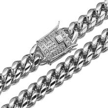 Granny Chic Hip hop Men Jewelry Solid Clasp Silver Stainless Steel Miami Cuban Link Chain 10mm Punk Heavy Long Necklace granny chic coffee beans link chain 10mm necklace stainless steel men women rope link chain fashion necklaces hip hop jewelry