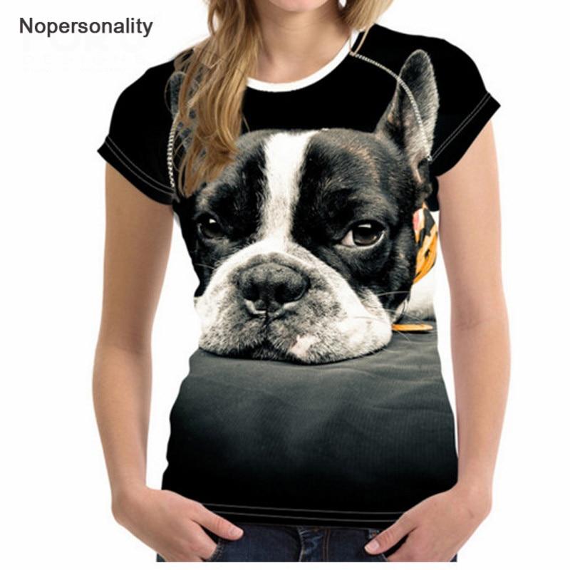 Nopersonality Cool Printing Dog Wolf Panda Tričko Topy pro ženy - Dámské oblečení
