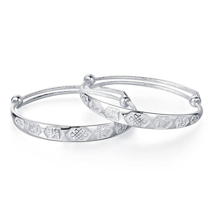 Silver Longevity Lock Baby Snake Models Bracelet 990 Sterling Gift Set 999 Fine Jewelry In Id Bracelets From