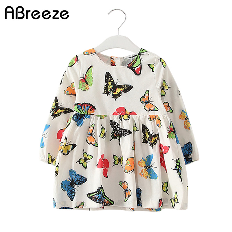 New summer autumn little girls clothing European and american style dresses for baby girls casual butterfly print girls dresses 2014 new fashion fall european american style flower butterfly print sundress baby