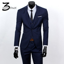 (jackets+vest+pants) 2017 fashion male quality slim high-grade cotton business BLAZER/Men groom dress suit three-piece/jackets