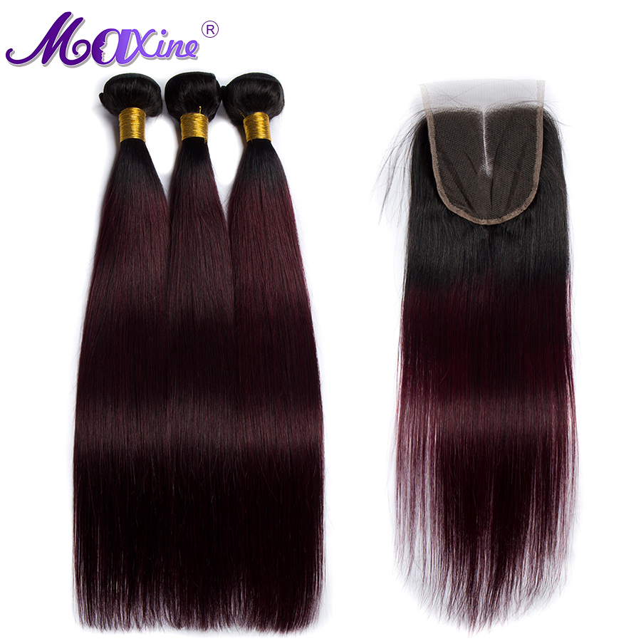 Maxine Ombre Straight Hair Bundles With Closure 1B 99J 3 4 Pcs Brazilian Hair Weave Bundles