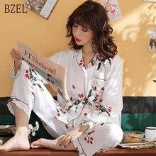 BZEL 2 Pieces Pajamas Set Women Turn down Collar Long Sleeve Pyjama Suit Pijamas Satin Mujer Sleep Lingerie 11 Kinds Of Pattern