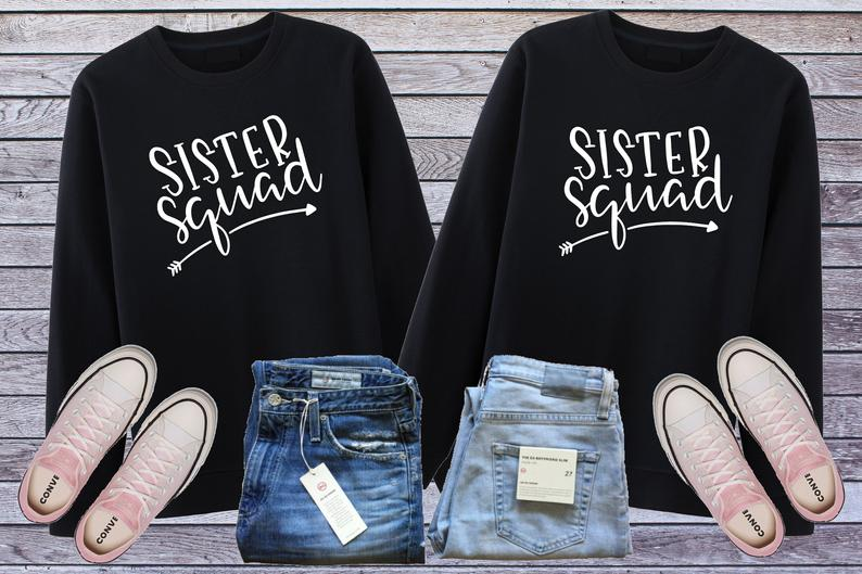 Sugarbaby Sister Squad Best Friend Sweatshirt Matching Sister Bff Hoodie Sister Gift Sibling Clothing Girl Squad tops Drop ship