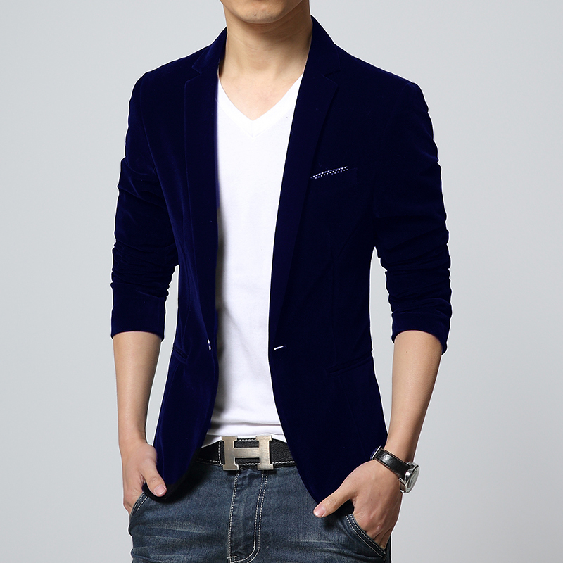 2015 new autumn Mens slim fit blazers cotton velvet male jacket ...