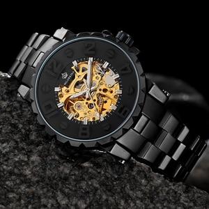 Image 5 - MG. ORKINA Men Wristwatch Golden Skeleton Clock Mechanical Male Wrist Watch Black Relogio Masculino Automatic Zegarek Meski