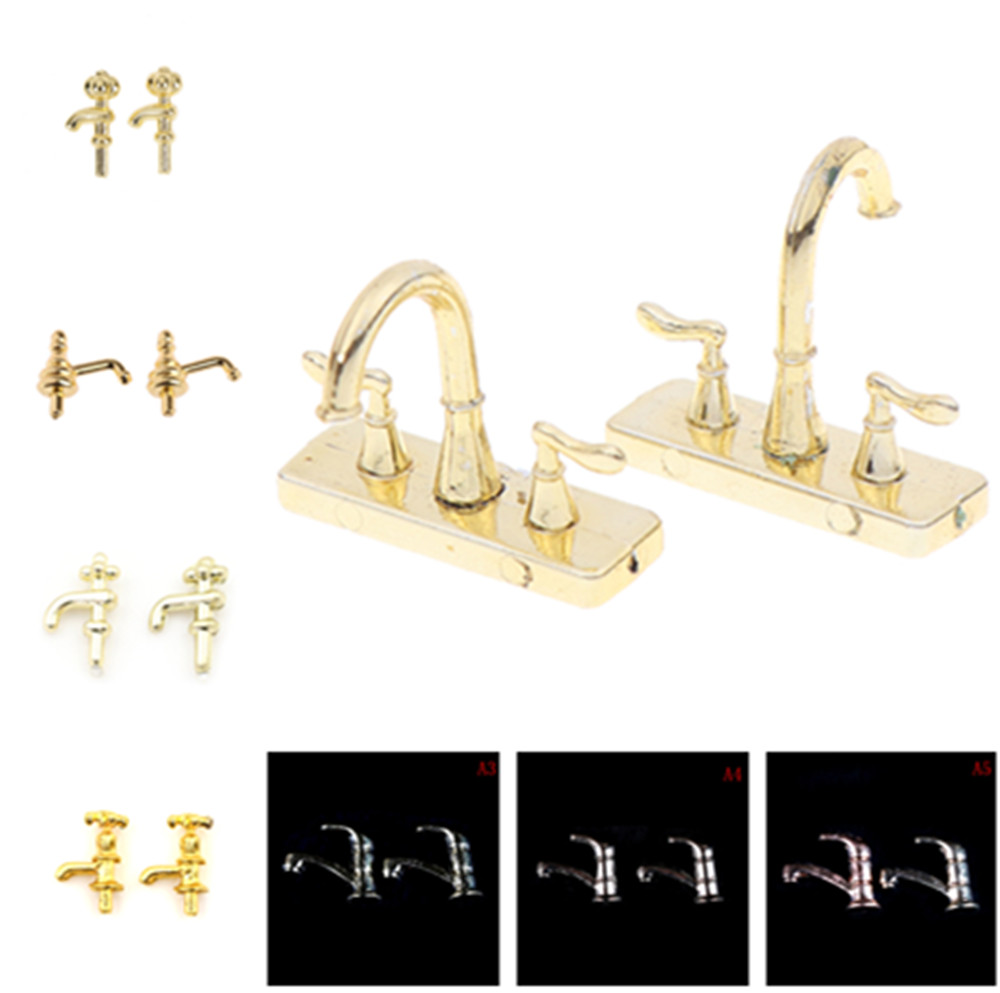 1/12 Dollhouse Miniature Bathtub Faucet Simulation Water Tap Model Toys For Doll House Decoration Furniture Accessories