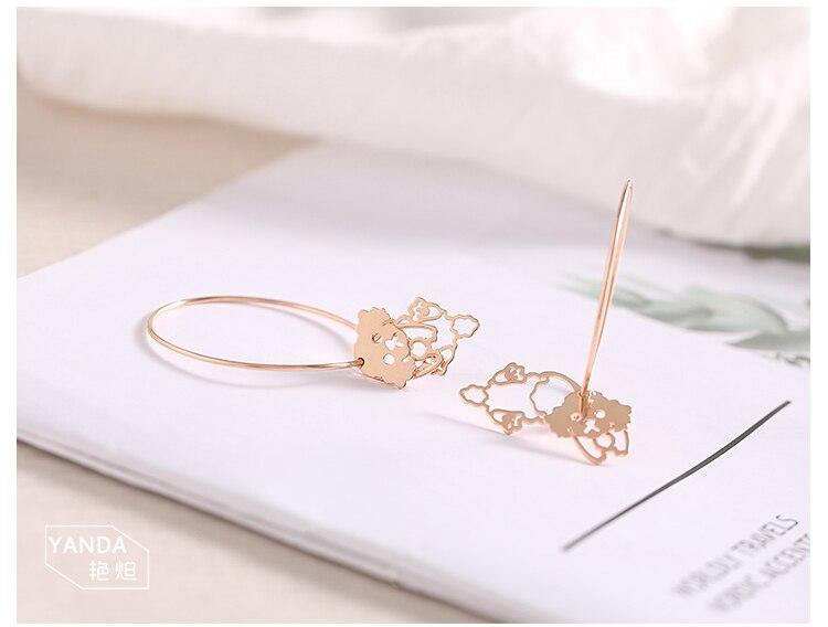 rose gold dog drop silver hoop earrings 01