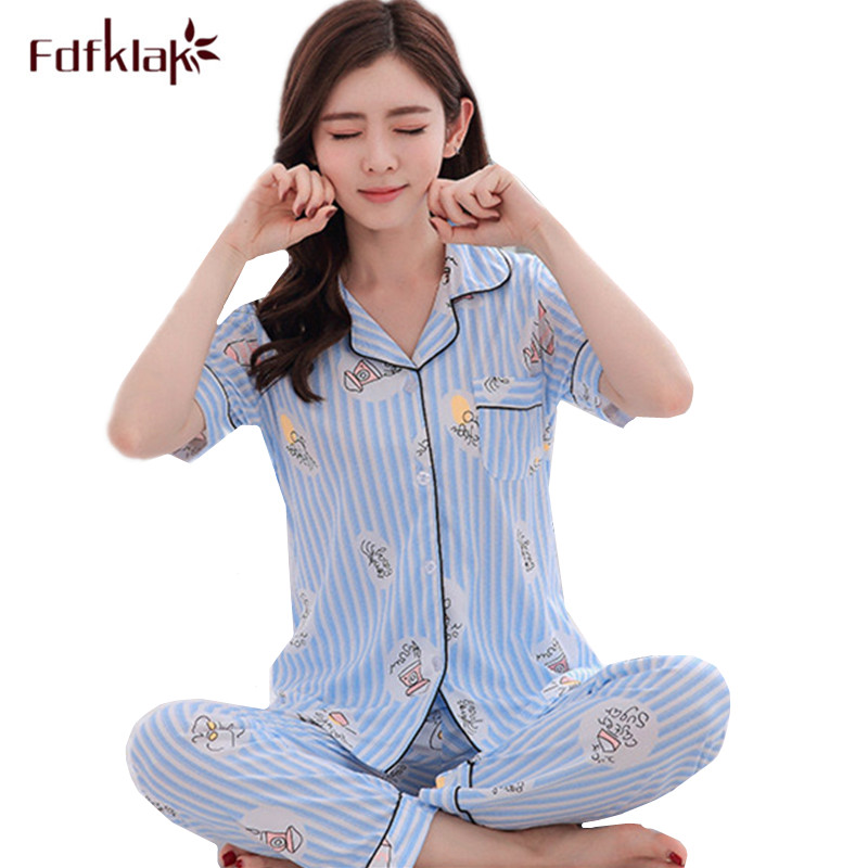 21256aa533 Fdfklak Milk silk summer pajamas women short sleeve print women s sleepwear  set ladies pijamas suit casual