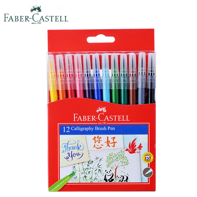 Faber Castell Aquarell Calligraphy Brush Markers Water Based Colored Manga Pen 12 Colors Watercolor Soft Tip Draw Graphic Marker sta 12 24 colors brush pen set water based ink twin tip watercolor markers pen drawing for manga school art supplies rotulador