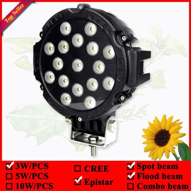 7-palčna okrogla 51W črna vozna luč za tovornjak 4wd 4x4 suv atv - Avtomobilske luči - Fotografija 2