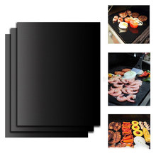 Ptfe Non-stick BBQ Grill Pad Barbecue Baking Pad Reusable Teflon Cooking Plate 40 * 33cm For Party Grill Mat Tools New(China)