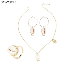 3 Pcs/set Women Jewelry Set Fashion Shell Earrings Ocean Conch Alloy Necklace Ring Combination Elegant Ladies Jewellery Gift