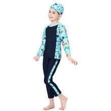 Suudi Arabistan Kinderen Mayo Kız islami mayo Uzun Kollu Üç Parçalı Çocuk Islam Yüzme Kıyafetleri Pakistanlı Giysiler