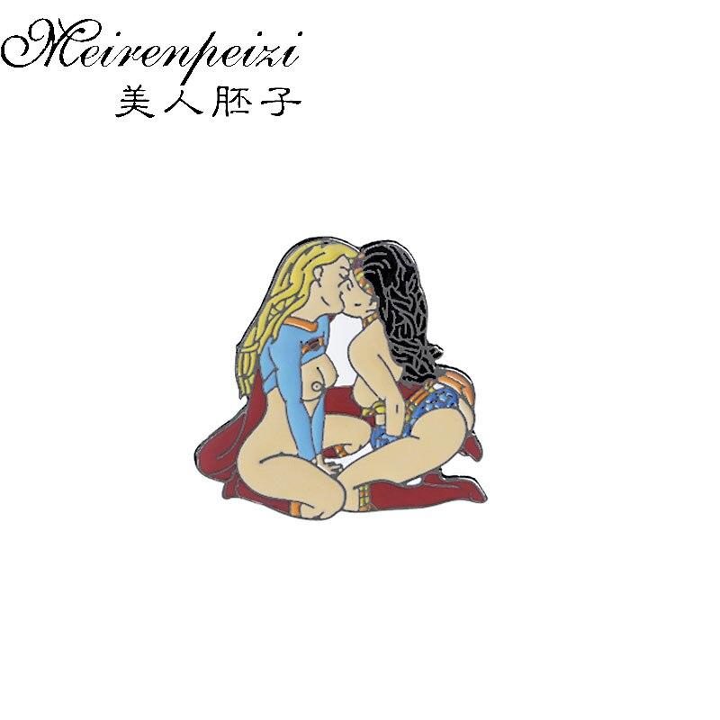 Wonder Woman Supergirl Gay Love Kissing Enamel Pin Brooch Badge Denim Jackets Shirt Collar Lapel Pin Badge Jewelry