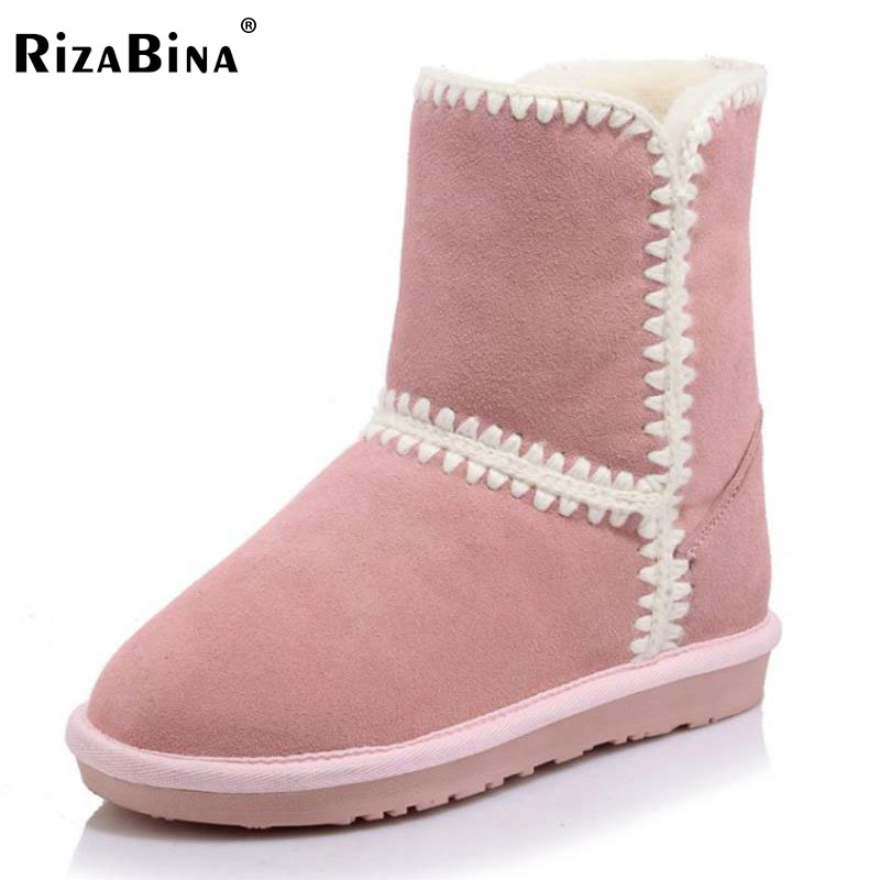 RizaBina Size 34-43 Cold Winter Real Leather Mid Calf Winter Boots For Women Warm Fur Plush Inside Female Half Short Snow Botas coolcept size 34 43 women half short thick bottom boots cross strap warm shoes cold winter boots mid calf botas women footwear