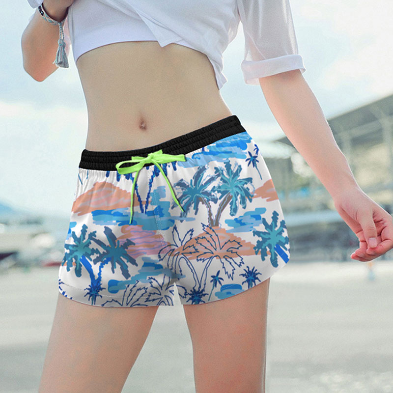 Board     Shorts   Women Coconut Tree Patterns Swimwear Sexy Print Ladies Swimsuits Beach Surf Quick Dry Sports Running Fitness   Short