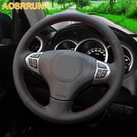Aosrrun preto couro artificial cobertura de volante do carro para suzuki grand vitara 2007-2013