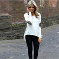 GraceAngie 1PC /Lot Polyester O-Neck Long Sleeve Loose Irregular Lap Women Girl Wild T-Shirts