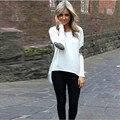 GraceAngie 1PC /Lot Polyester O-Neck Long Sleeve Loose Irregular Lap Women Girl Wild T-Shirts