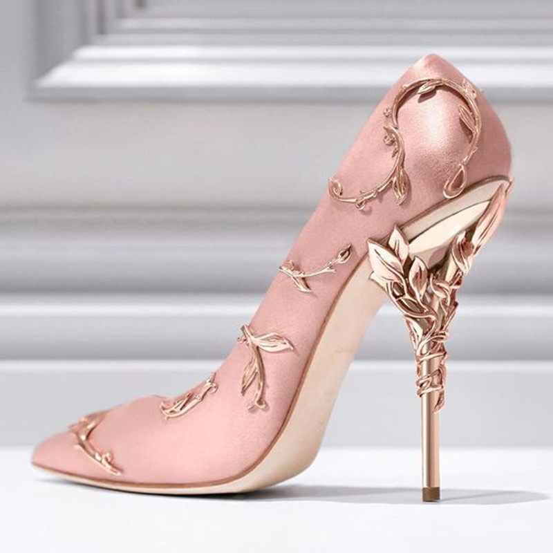 MIQUINHA Satin Filigree Leaves Stiletto High Heels Pointed Toe Women Pumps Slip On Embellished Vines Party Wedding Shoes Woman цены онлайн