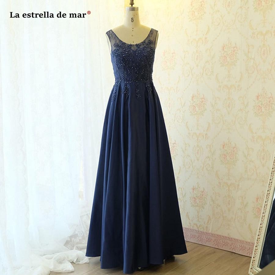 Vestido Madrinha Longo New Scoop Neck Lace Satin A Line Navy Blue Wedding Guest Dress Real Photo Dama De Honor