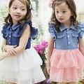 Toddler Kids Girls One Piece Ruffled Lace Dress Denim Gauze Baby Tutu Vestidos 2-7Y